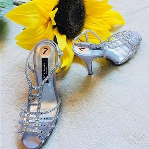 Silver silk and rhinestone Nina heels